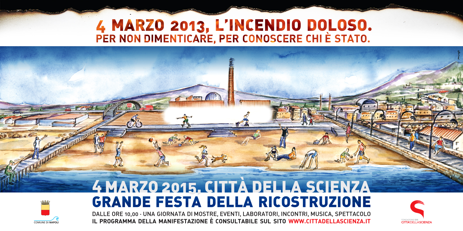 4 marzo, festa della ricostruzione a Città della Scienza