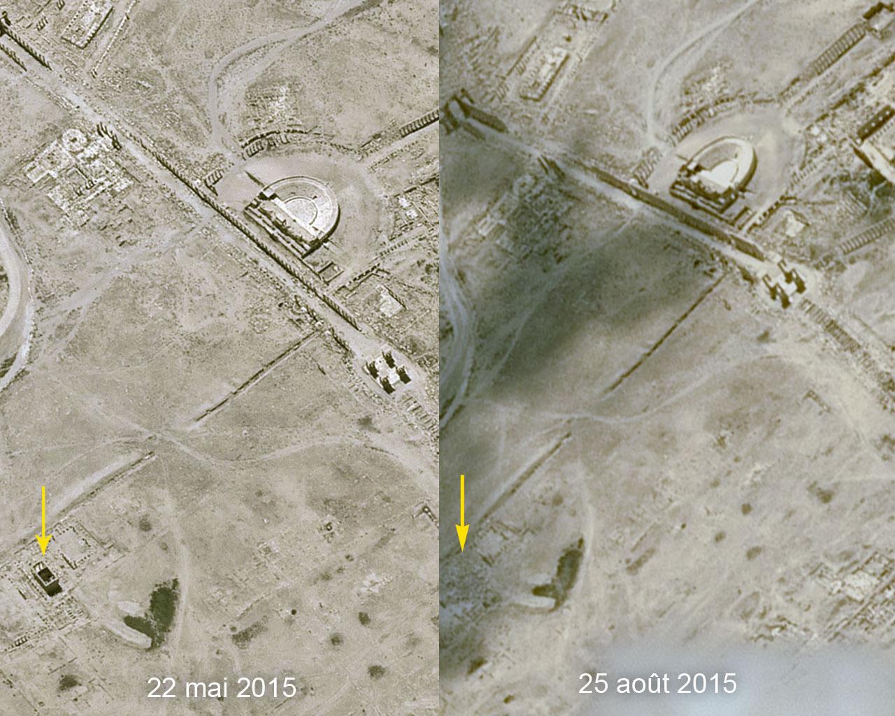 Palmira: la distruzione del tempio vista dallo Spazio